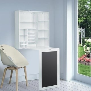 U Foldout Matte White Wall Mount Desk With Storage Cabinet And Shelves