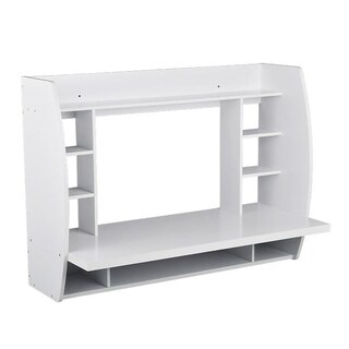 Melamine Floating Wall Mount Desk with Shelving, Storage Nooks