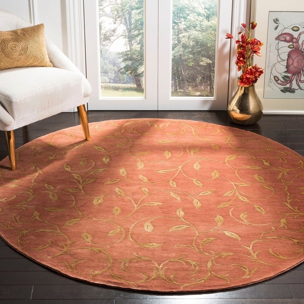 Hand Tufted Agra Red Gold Wool Rug 8 Round: Shop Safavieh Couture Hand-Knotted Tibetan Contemporary
