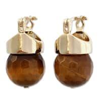 Handmade Gold Overlay 'Honey Acorn' Tiger's Eye Earrings (Brazil)