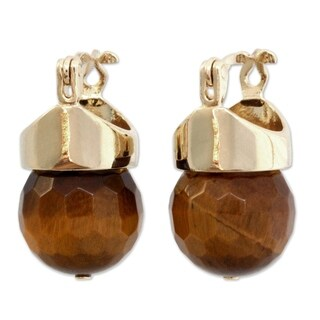 Handmade Gold Overlay 'Honey Acorn' Tiger's Eye Earrings (Brazil)