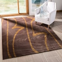 Safavieh Couture Hand-Knotted Tibetan Contemporary Brown / Gold Silk & Wool Rug - 8' x 10'