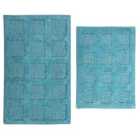 Square Honeycomb 2-piece Bath Rug Set