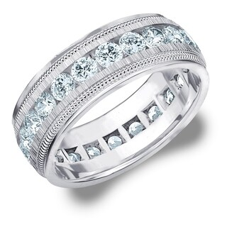 Amore 14K White Gold Men's 3CT TDW Diamond Eternity Ring with Milgrain Edge