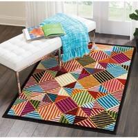 Nourison Oakdale Geometric Black/Multicolor Area Rug - multi - 5'3 X 7'3