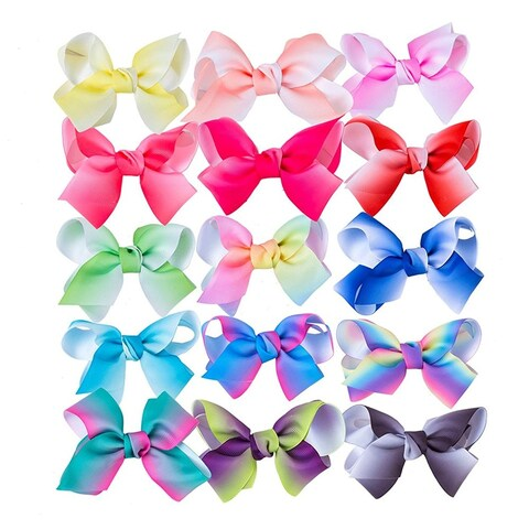 """4.5"""" Hair Bows Clips Big Ribbon Boutique Bow for Girls, Pack of 15"""