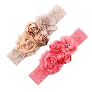 Chiffon Lace Flower Baby Girls Turban Headband Head Wrap With Pearl