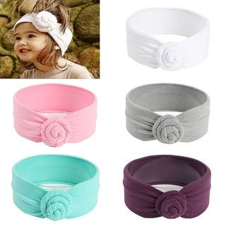 Baby Girl Round Dot Turban Headband Head Wrap Knotted Hair Band