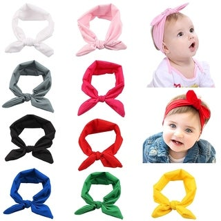 Boutique Stretch Bows Ears Headband Set for Baby Girl Kids Newborn