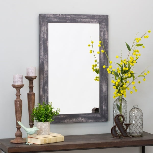 "Morris Wall Mirror - Gray 36 x 24 - 36""h x 24""w x 1""d. Opens flyout."
