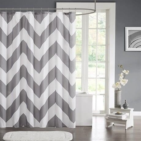 Charmant Chevron Grey Mildew Free Water Repellent Shower Curtain, 72u0026#x27;u0026