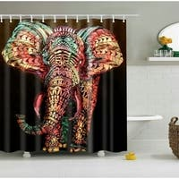 African Elephant Waterproof Durable Polyester Curtain with Free Hooks