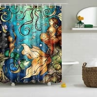 Waterproof Polyester Mermaids Shower Curtain with 12 Hooks
