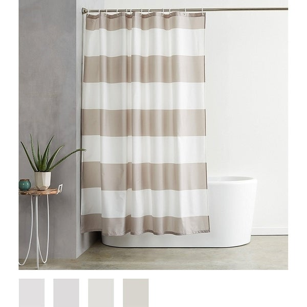 72 X Inches Grey Stripe Shower Curtain With Hooks