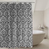 Waterproof Non Toxic White Black Shower Curtain Liner Set with Hooks