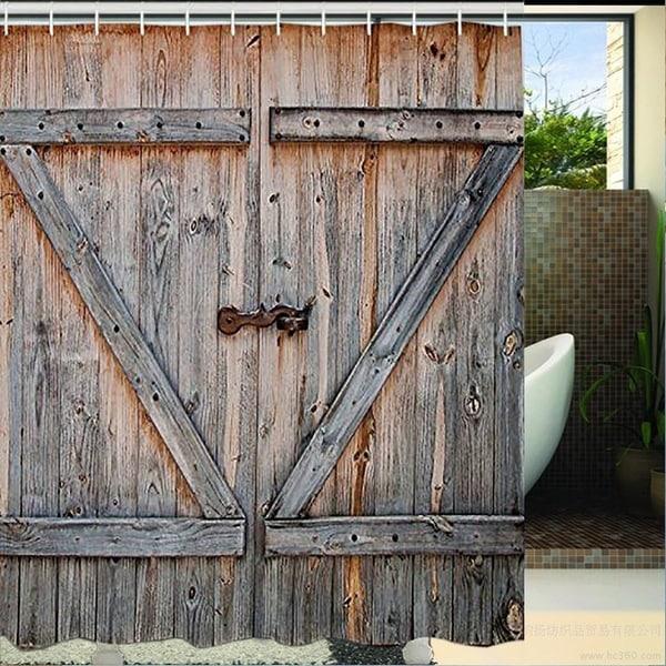 Shop Old Wooden Garage Door Digital Printing Polyester Waterproof