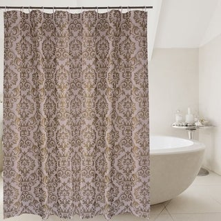 Damask Anti-Bacterial Waterproof Shower Curtain Liner Set with Hooks