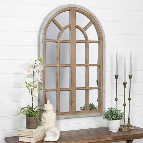 Athena Chestnut/Blue-grey Wood Farmhouse Arch Wall Mirror