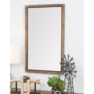 "Marlon Rustic Wood Wall Mirror - Brown - 34""h x 21""w x 1.5""d"
