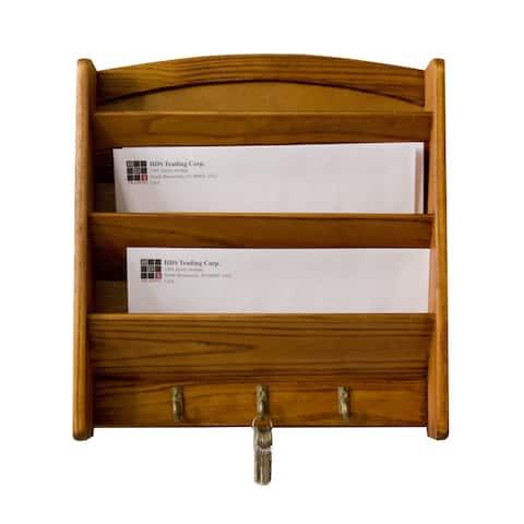 Home Basics 3-tier Pine Letter Rack and Key Hooks