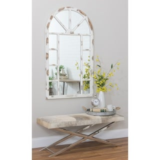 Lara Distressed White Wood 52-inch Farmhouse Arch Wall Mirror