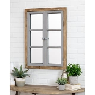 "Somerset Window Pane Wall Mirror - Brown - 31""h x 22.5""w x 2.5""d"