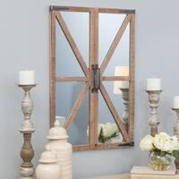 Walker Farmhouse Distressed Nutmeg Brown Wood 30-inch High x 20.5-inch Wide x 2-inch Deep Wall Mirror