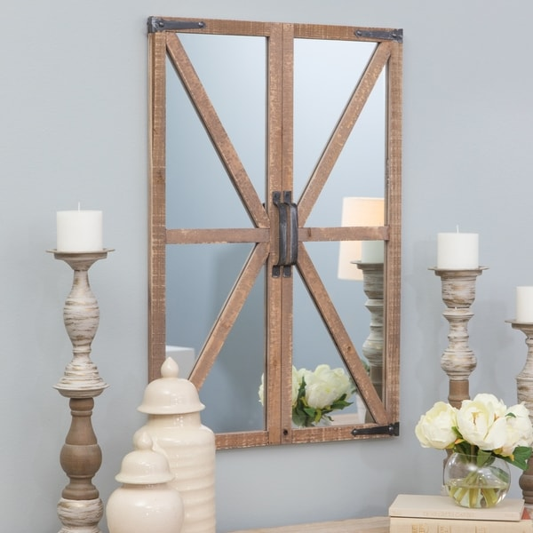 "Walker Farmhouse Wall Mirror - 30""h x 20.5""w x 2""d. Opens flyout."