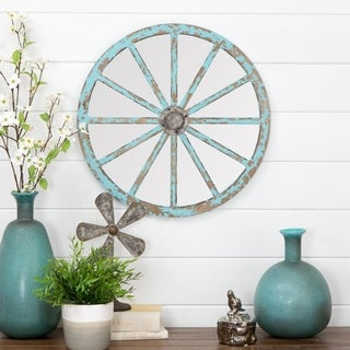 "Delma Carriage Wheel Wall Mirror - Blue - 20""h x 20""w x 2""d"