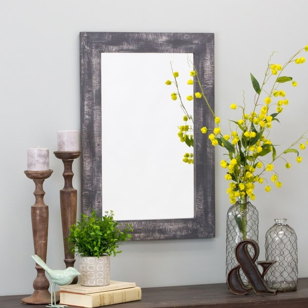 "Morris Wall Mirror - Gray 30 x 20 - 30""h x 20""w x 1""d. Opens flyout."