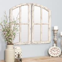 "Jolene Arch Window Pane Mirrors (Set of 2) - White - 27""h x 15""w x 1""d"