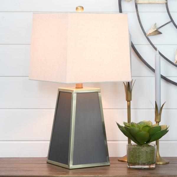 Addison Matte Grey/Polished Brass Metal Modern Table Lamp
