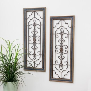 Grace Distressed Dark Blue Wood and Iron Wall Plaque Decor (Set of 2)