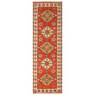 Handmade Herat Oriental Indo Hand-Knotted Tribal Kazak Wool Runner (India) - 2'1 x 6'8