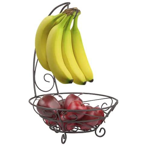 Home Basics Scroll Collection Bronze Steel Banana Tree Fruit Basket