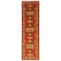 Handmade Herat Oriental Indo Hand-Knotted Tribal Kazak Wool Runner (2' x 6'10) - 2' x 6'10 (India)