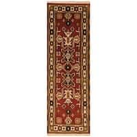 Handmade Herat Oriental Indo Hand-Knotted Tribal Kazak Wool Runner (2'2 x 6'6) - 2'2 x 6'6