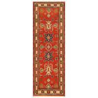 Handmade Herat Oriental Indo Hand-Knotted Tribal Kazak Wool Runner (2'1 x 6'2) - 2'1 x 6'2