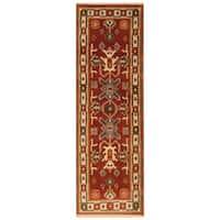 Handmade Herat Oriental Indo Hand-Knotted Tribal Kazak Wool Runner - 2'1 x 6'7