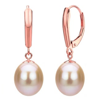 DaVonna 14k Rose Gold Pink Long Shape Freshwater Pearl High Luster Leverback Dangle Earring.