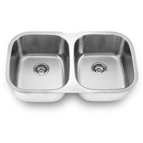 Yosemite Home Decor 20.5 x 34.5 Stainless Steel Undermount Double Sink - 20.5 x 34.5 x 9