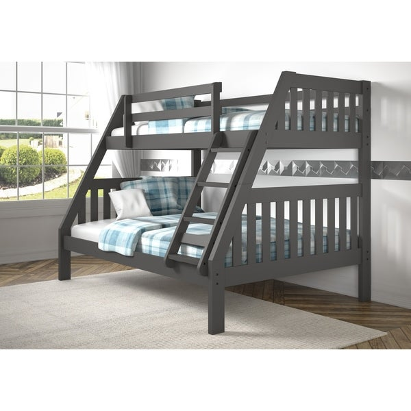 Shop Twin Over Full Mission Bunk Bed In Dark Grey Finish On Sale