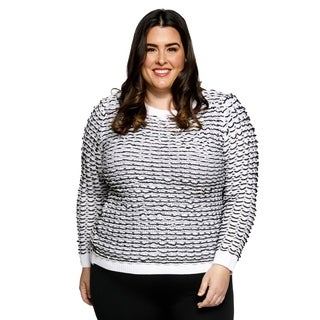 Xehar Womens Plus Size Textured Knit Long Sleeve Crewneck Pullover Sweater