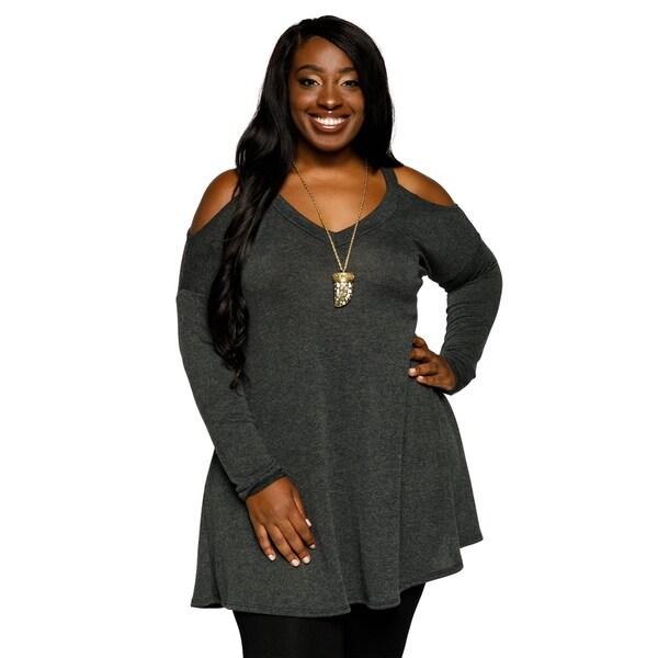 b6519cce8e3 Xehar Womens Plus Size Casual Side Zipper Asymmetrical Knit Tunic Top