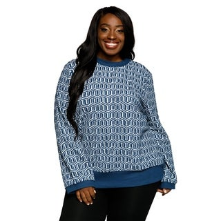 Xehar Womens Plus Size Crewneck Long Sleeve Chevron Print Sweater Top
