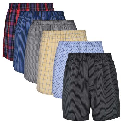 Reed Edward Classic Assorted ComfortFlex Waistband Underwear Boxer Shorts - 6 Pack