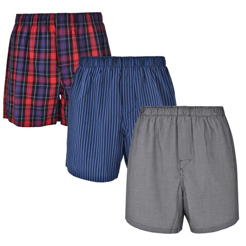 Reed Edward Classic Assorted ComfortFlex Waistband Underwear Boxer Shorts - 3 Pack