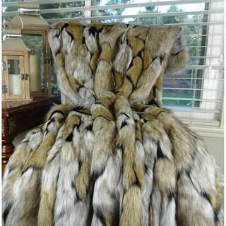 Plutus Taupe Black Lucury Wolf Faux Fur Throw / Blanket