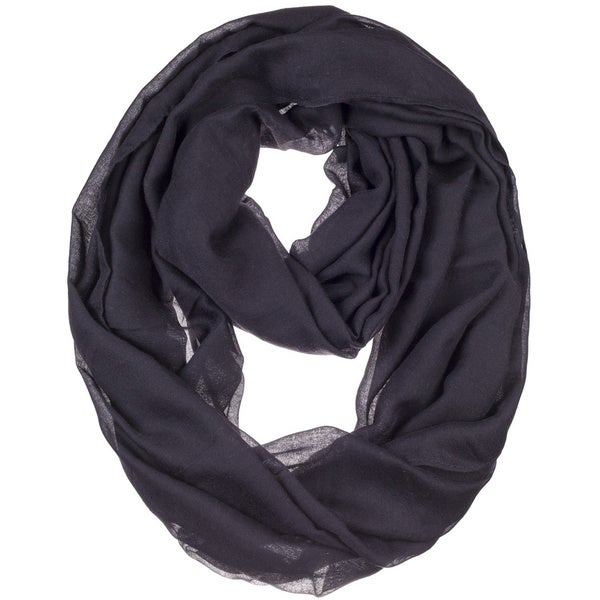 BYOS Womens Airy Crinkled Lightweight Soft Infinity Scarf Loop Snood in Solid Color. Opens flyout.