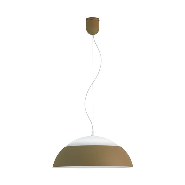 Eglo Marghera Pendant with Taupe Outer Finish and White Interior Finish